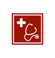 stethoscope and silhouette a cross in red vector image vector image