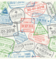 travel visa airport stamps seamless pattern vector image vector image
