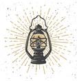 vintage kerosene lamp with light lines vector image vector image