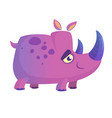 violet cartoon rhino vector image vector image