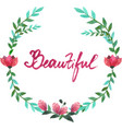 watercolor oval frame of flowers and leaves vector image