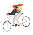 woman riding bicycle food delivery or activity vector image