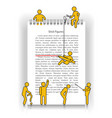 yellow stick figures on notepad vector image