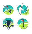 golf labels collection with equipments and prizes vector image