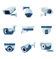 Security camera CCTV flat icons set vector image
