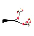 Decorative Branch Tree Silhouette With Red Flower vector image