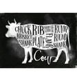 beef cutting scheme chalk vector image vector image