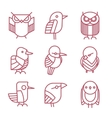 Bird linear icons set vector image