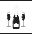 bottle of champagne wine with two glasses linear vector image vector image