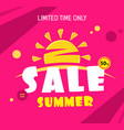 bright red sale banner with summer sun text vector image vector image
