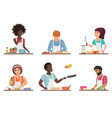 cartoon people cooking set isolated vector image vector image