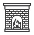 christmas fireplace line icon new year christmas vector image vector image