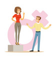 confident woman standing on the podium giving a vector image vector image