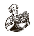 cook with a full basket of fresh vegetables vector image