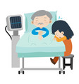 dead man on hospital bed and girl crying vector image