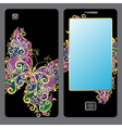 Design for a mobile phone with butterfly vector image