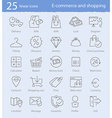 E-commerce shopping and web store thin line icons vector image vector image