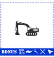 excavator icon flat vector image vector image