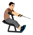 exercising man pulling weights vector image vector image