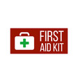 first aid kit label or sign medical box with vector image