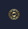 fish china emblem gold logo vector image