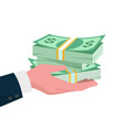 give money concept hand giving dollars to other vector image