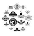 gmo food logo icons set simple style vector image vector image
