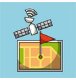 gps navigation satellite map pin flag location vector image