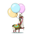 greeting card design cheerful lama with vector image vector image