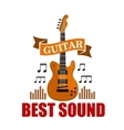 Guitar Best sound musical emblem vector image