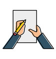 hand human with pencil writing in document vector image vector image