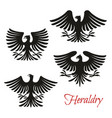 heraldic black eagle falcon or hawk bird symbol vector image