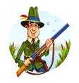 Hunter man with rifle on vector image