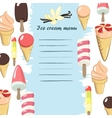 Ice cream menu vector image vector image