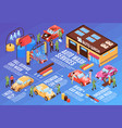 isometric car wash flowchart vector image