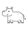 line drawing cute hippo cartoon hand drawn vector image vector image