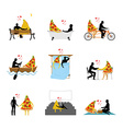 love of pizza set Man and slice of pizza in movie vector image