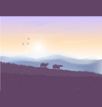 mountains bears sunset vector image vector image
