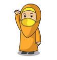 muslim girl use orange shirt and hijab greeting vector image
