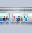 people inside subway metro train discussing during vector image