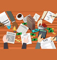 people working on financial planning vector image