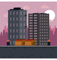 pixelated urban videogame scenery vector image