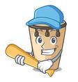 playing baseball conga character cartoon style vector image