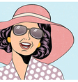 popart retro woman with sun hat in comics style vector image vector image