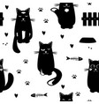seamless pattern with black cats fish vector image vector image