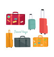 set of travel suitcases and bags vector image vector image