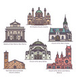 set religion churches in thin line vector image