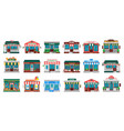 shops facades laundry building hardware store vector image vector image