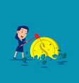 smashed a dollar coin into ground and broke vector image vector image