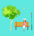 spring mood park outdoor the sitting girl on vector image vector image